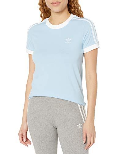adidas Originals Damen 3-Stripes Tee T-Shirt, Transparentes Himmel/Weiß, XX-Small