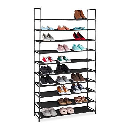 Relaxdays Zapatero XXL, 10 Niveles, para 50 Pares de Zapatos, plástico, 5 x 99 x 29,5 cm, Color Negro, 176,5x99x29,5 cm