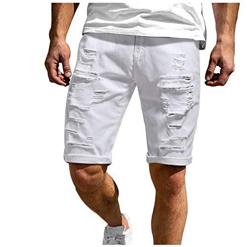 Moent Pantalones cortos deportivos para hombre de verano, informales, para culturismo, fitness, para correr, senderismo, ligero, de secado rápido (blanco, XXL)