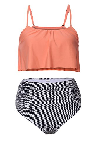 Byoauo Womens High Waisted Bikini Ruffle Thin Shoulder Straps Swimsuit Two Pieces Swimwear Orange