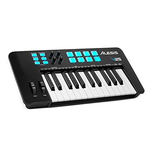 Alesis V25 MKII – Tastiera MIDI Controller USB con 25 Tasti Sensibili alla Velocity, 8 Pad, Arpeggiatore, Pitch/Mod Wheel, Note...