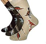 Shimasocks Coole Kids Dino Socken - Kinder Strümpfe mit Dinosaurier Motiv im 3erPack, Farben alle:oliv/beige/marine, Größe:35/38