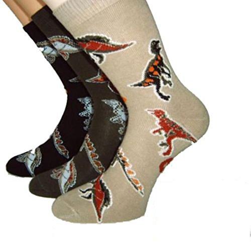 Shimasocks Kinder Socken Dino 3-er Pack, Farben alle:oliv/beige/marine, Größe:31/34