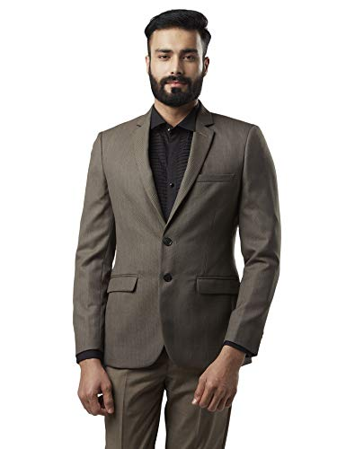 Raymond Dark Brown Slim Fit Polyester Blend Blazer