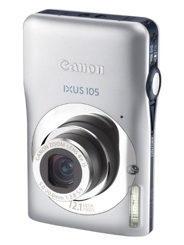 Canon IXUS 105 Digitalkamera (12 MP, 4-fach opt. Zoom, 6,9cm (2,7 Zoll) Display, bildstabilisiert) silber