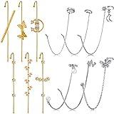 12 Pieces Ear Cuff Wrap Crawler Hook Earrings Rhinestone Chain Tassel Earrings Simple Ear Clips for Women Girl Valentine's Day (Gold and Silver)