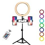 Xiaoplay Juego de Luces Anillo LEDDimmable con Smartphone Soporte para Estudio Grabación de vídeo trípode Maquillaje Vivo ringlight,B-26cm*50cm