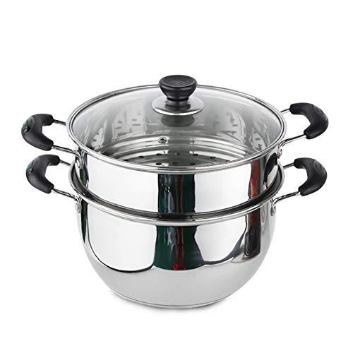 Utensilios de cocina al vapor Vapor de acero inoxidable/olla de sopa de 2 capas Capacidad grande de 2 capas con vapor 18 cm / 20cm / 22 cm / 24cm / 26 cm de espesado adecuado para estufa de gas/co