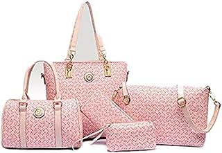 مجموعة حقيبة اليد لون زهري للنساء
