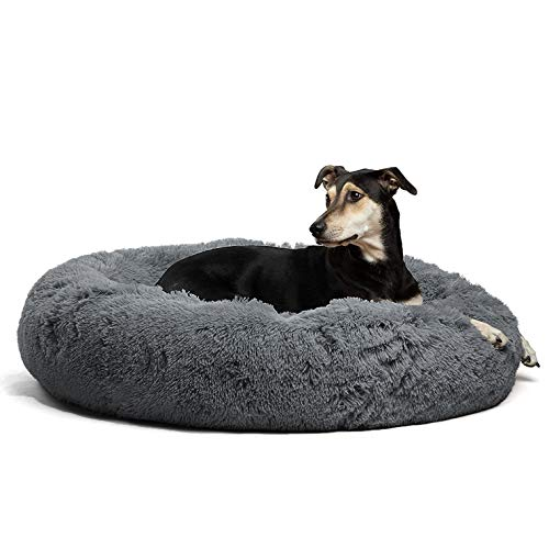 Fangqiyi Luxuriöse Orthopädische Haustier Hund Katze Beruhigendes Bett, Plüsch Atmungsaktiv Runde Hundebett, Geeignet für Katzen/Hunde, 6 Größen 50-120cm (80cm, Dark Gray)