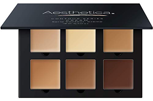 Aesthetica Cosmetics Cream Contour and Highlighting Makeup Kit - Contouring Foundation / Concealer Palette - Vegan & Cruelty Free - Step-by-Step Instructions Included
