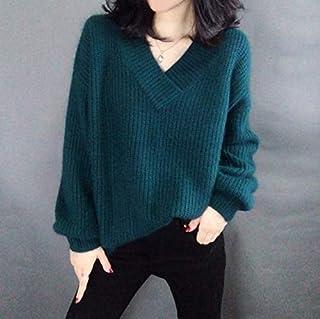 SDJYH suéter de Mujer con Cuello en V y Manga Larga de Punto Jerseys Sueltos Casuales de Punto Jerseys