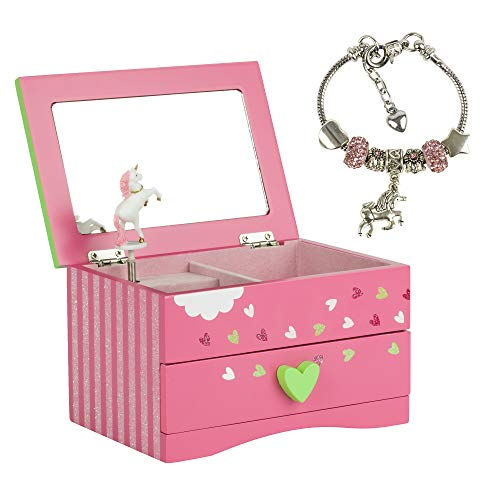 Amitié Lane Unicorn Jewelry Box for Girls - Two Unicorn Gifts for Girls Including Pink and Green Unicorn Music Box and Unicorn Charm Bracelet