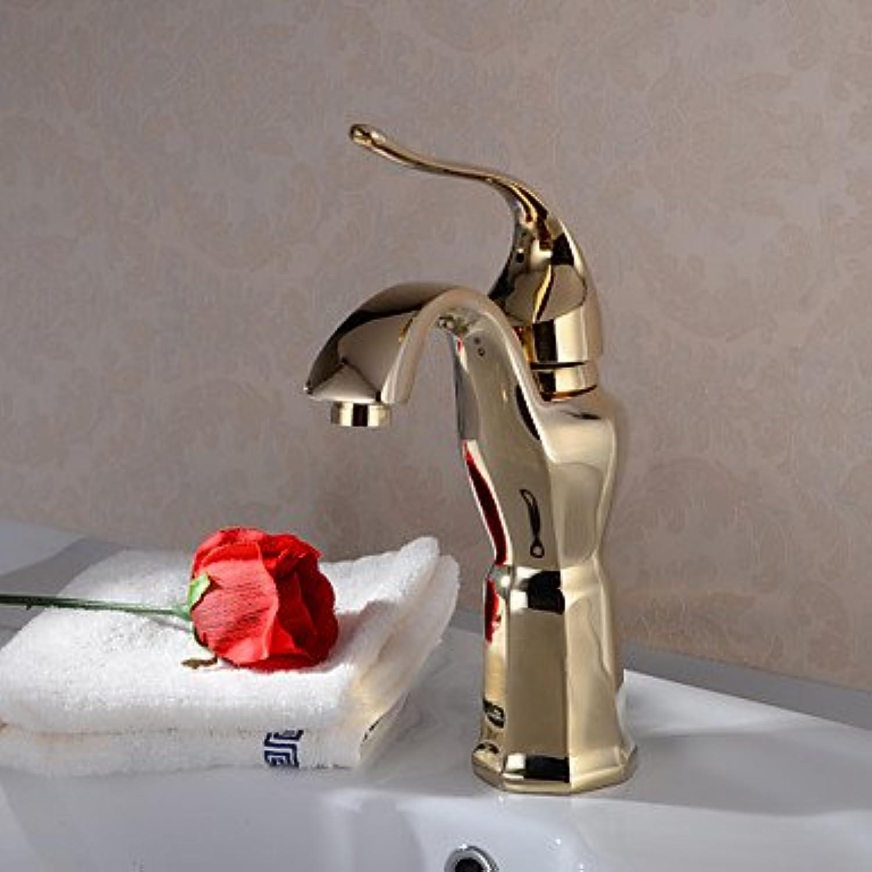 HFaucet? Traditional Ti-PDV Finish Single Handle Brass Bathroom Sink tap