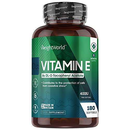 Vitamina E Cápsulas 400UI 180 Cápsulas - Vitamina E Natural 6 meses de suministro - Perlas de Vitamina E de Acetato de Alfa Tocoferol, Antioxidante para Proteger a las Células del Estrés Oxidativo