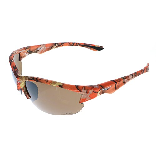 VertX Lightweight Durable Mens & Womens Athletic Sport Sunglasses Hunting Fishing w/FREE Microfiber Pouch-Frame Orange Camouflage frame with Brown Lens