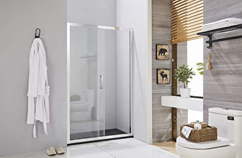 Box doccia porta scorrevole profilo in alluminio cromato cristallo temperato 6 mm h.195 (133-137 cm)