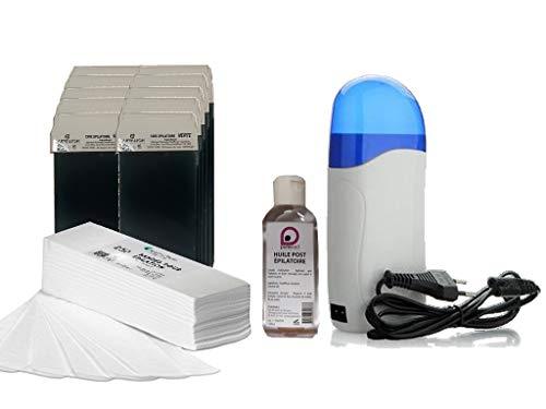 Kit EPILATION avec 1 Chauffe Cartouche +10 cartouches de cire VERTE +250 bandes d'épilation +1 Huile Post Épilatoire 100 ml - Purewax By Purenail