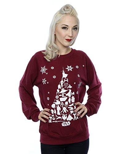 Star Wars Damen Christmas Tree Sweatshirt Medium Burgund