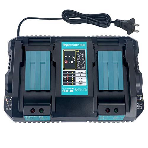 Preisvergleich Produktbild Wimaha DC18RD Dual Port Ladegerät Ersatz für Makita 18V Li-ion Akku BL1850 BL1850B BL1840 BL1840B BL1830,  Makita Akku 14.4V BL1415 BL1430 BL1440
