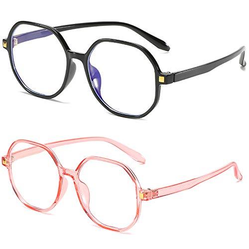 Bias&Belief Pack de 2 Gafas con Bloqueo de luz Azul Gafas para Juegos de computadora TR Montura Redonda Montura de anteojos Gafas Anti-Fatiga Ocular para Mujeres y Hombres,B