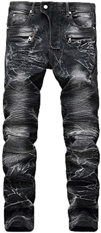 Men Jeans Daoroka Men s Ripped Slim Fit Straight Denim Motorcycle with Broken Holes Younger product image