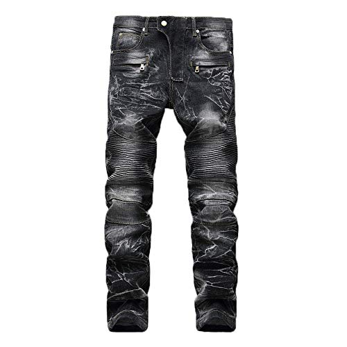 Geili Herren Jeans Hose Lang Vintage Used Look Destroyed Hohl Löchern Jeanshosen Denim Pants Basic Regular Fit Straight Jeans Große Größen Hip Hop Biker Hose Radlerhose Radhose