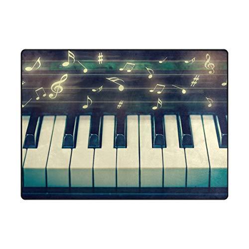 AHOMY Teppich, 150 x 200 cm, Rutschfest, Moderne Musiknoten-Tastatur-Teppich für Wohnzimmer/Baby/Haustierzimmer/Schlafzimmer/Esszimmer/Küche, Textil, Multi, 120x160 cm(5'x4' ft)