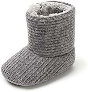 Botas Patucos de Ganchillo Lana Bebé Invierno Soft Sole Crib Caliente Boots de Niñas de Algodón (0-6 Meses, Gris, Tamaño de Etiqueta 11)
