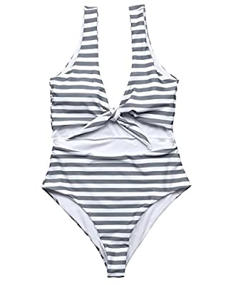 RUUHEE Women Tummy Control V Neck Tie Knot High Waisted One Piece Swimsuits (S(US Size 4-6),0101Gray)