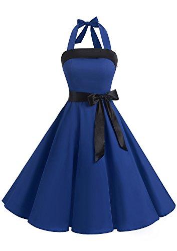 Timormode Damen Vintage Cocktailkleid Knielang Neckholder Swing Retro Rockabilly Kleid XL Royalblau