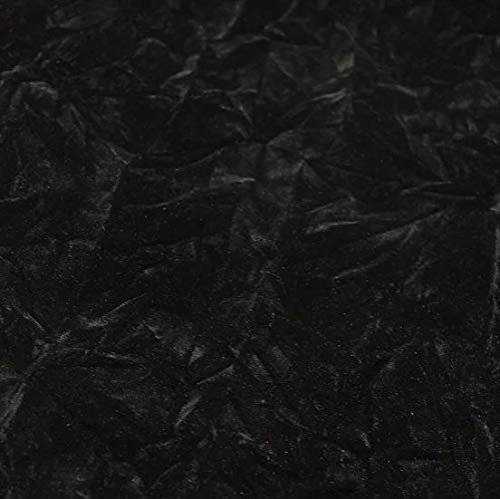 Velvet Crushed Black Upholstery Fabric by The Yard