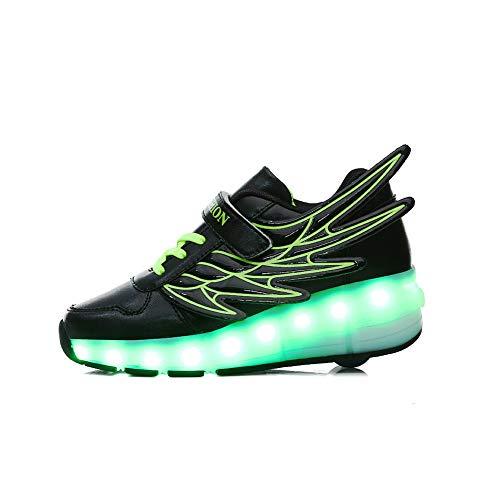 JESU Wheels Shoes Kids LED USB Aufladen Roller Skate Shoes, Blinkende Rollschuhe Einzelrad, Leuchtend Skates, Bequeme Atmungsaktive Schuhe,Schwarz,29