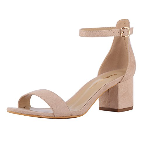 Women's Strappy Chunky Block Low Heeled Sandals 2 Inch Open Toe Ankle Strap High Heel Dress Sandals Daily Work Party Shoes Velvet Nude Size 6.5