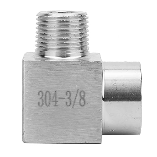 Conector, Conector de tubería, BSPP Conector de codo de rosca hembra a macho Adaptador de conexión de tubería Conector rápido para aceite de aire(3/8')