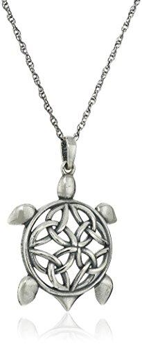 Sterling Silver Oxidized Celtic Knot Turtle Pendant Necklace, 18'