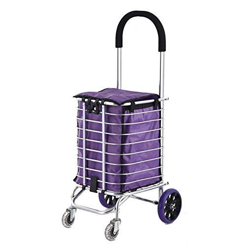 KFDQ Carritos de compras para personas mayores, Carrito de compras Carrito de equipaje portátil plegable Trolley Trolley Trolley Trolley pequeño Hogar para ancianos,4 Ruedas
