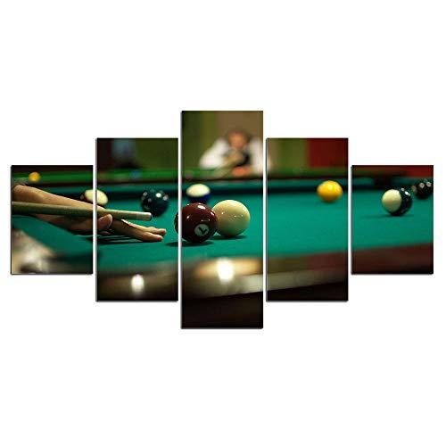 CGHBDOP Wandbild Billiard Sport 150Cmx80Cm Vlies Leinwand Bild XXL Format Wandbilder Wohnzimmer Deko Kunstdrucke 5 Teilig
