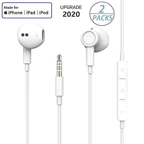 【2 Pack】 Auriculares para iPhone Auriculares internos Versión actualizada Auriculares de 3.5 mm Micrófono Incorporado y Control de Volumen Compatible para iPhone, iPad, Android, etc.-Blanco