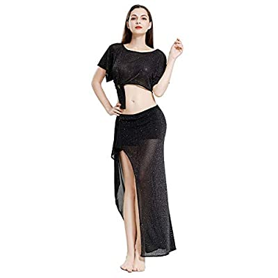 ROYAL SMEELA Belly Dance Costume for Women Belly Dancing Skirt Slit Bat Sleeve Tops Belly Dancing Outfit Carnival Costumes