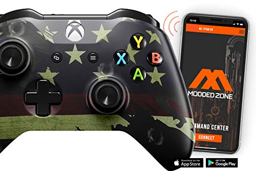 Smart Rapid Fire Custom Modded Controller for Xbox One S Mods FPS Games and More. Control and Simply Adjust Your mods via Your Phone! (American Flag)