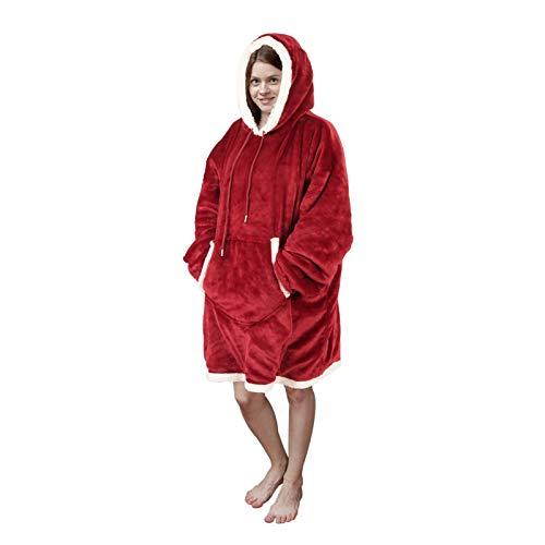Viviland Pullover dames pullover heren hoodie sweatshirt, groot en warm huispak voor volwassenen, rood