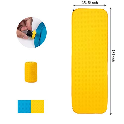 ZYYAY Compact Camping Air Mattress Lightweight, Anti-Slip, Waterproof Best Sleeping Mat for Backpacking Hiking Tent (Color : Yellow, Size : B)