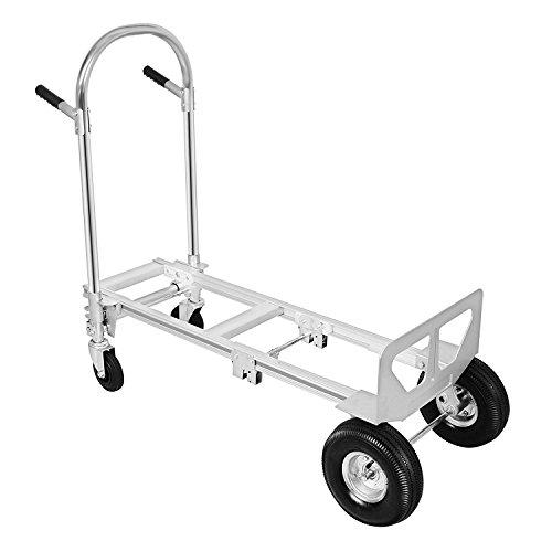 ZauberLu 400KG Sackkarren 2 IN 1 Aluminium Treppenrutsche Klappbar Transportkarre Mit Kunststoff Rädern Stapelkarre (400KG)