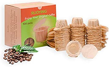 Eco-Sopure Unbleached K cup Disposable Paper Filter with Lid for Keurig Reusable K Cup Filters,Eco-Sopure Paper Filters for Keurig Coffee Maker Brewer, Fits All Keurig Single Serve Filter Brands (300)