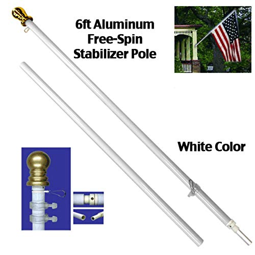 ALBATROS 6ft Aluminum Spinning Tangle Free Stabilizer Flag Pole White Gold Ball for Home and Parades, Official Party, All Weather Indoors Outdoors