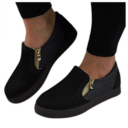 Briskorry Zapatillas de correr de verano, con cordones redondos, transpirables, informales, transpirables, con cordones, ligeras, para actividades al aire libre, caminar, correr, caminar