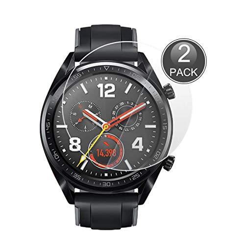 E-Hamii [2-Pack Huawei Watch GT Protector de Pantalla, 0.26mm HD Anti-Scratch y Anti-Huella Digital Proteger la película, 9H Vidrio Templado Cubierta Protectora, Mejor protección