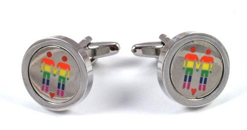 Gemelolandia   - Gemelos pareja gay orgullo gay de forma redonda, color varios colores Gemelos Originales Para Camisas   Para Hombres y Niños   Regalos Para Bodas, Comuniones y Otros Eventos