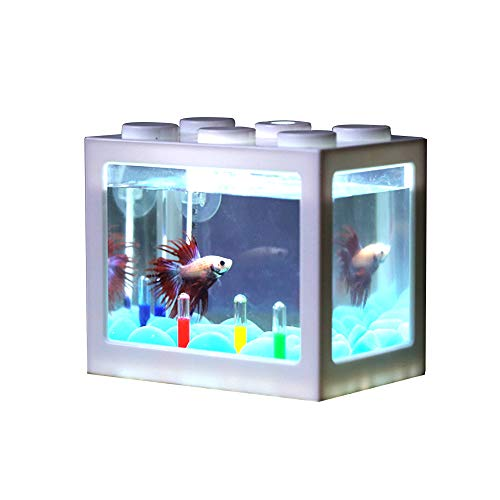 Nano Aquarium Befitery Mini Aquarium Nano Fischtank mit USB LED Leuchten Filtersystem | 12*8*10.5cm (Weiß)